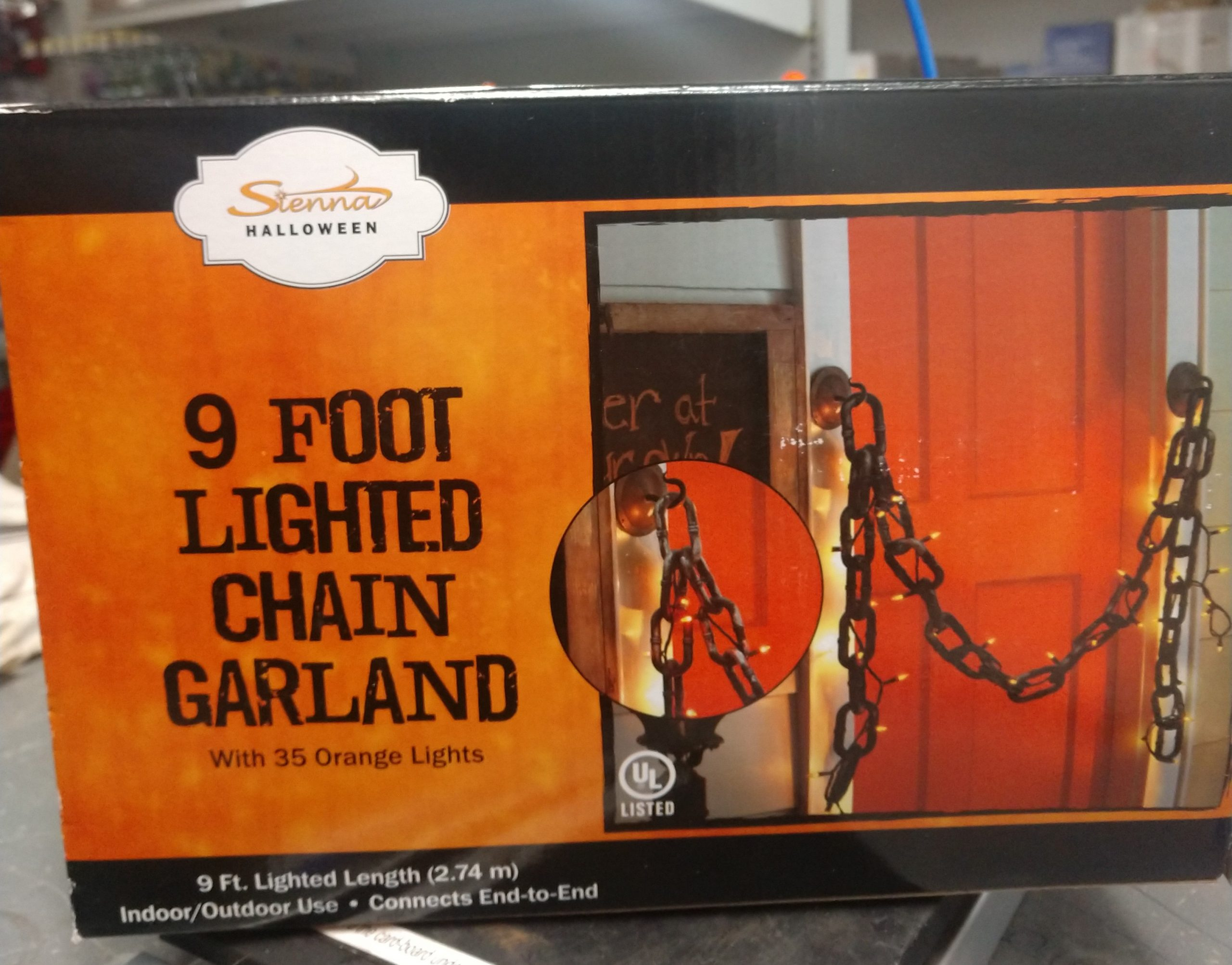 9 Foot Lit Spooky Halloween Chain Garland With 35 Mini